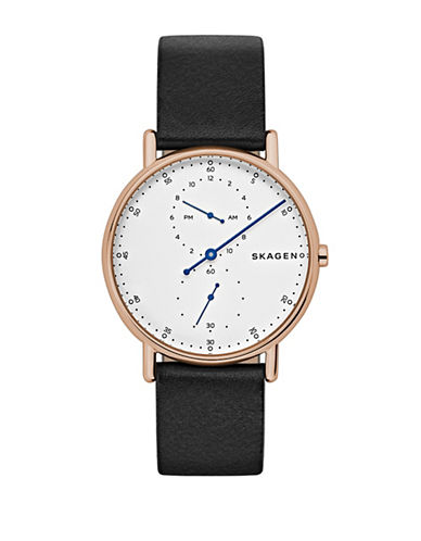 Skagen Signatur Analog One-Hand Leather Strap Watch-BLACK-One Size