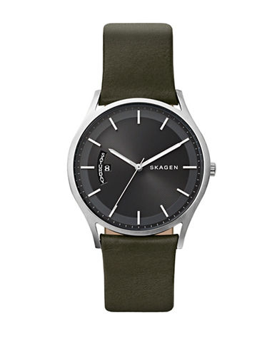 Skagen Analog Holst Stainless Steel Leather Strap Watch-SILVER-One Size