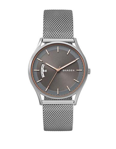 Skagen Analog Holst Stainless Steel Mesh Bracelet Watch-SILVER-One Size