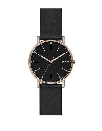 Skagen Signatur Analog Leather Strap Watch-BLACK-One Size
