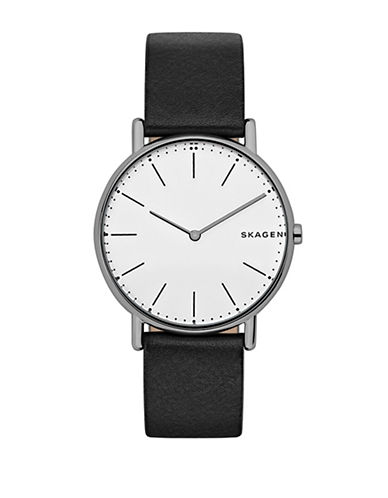 Skagen Signatur Analog Titanium and Leather Strap Watch-BLACK-One Size