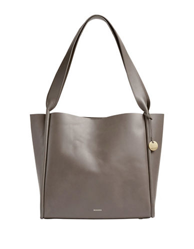 Skagen Karalie Leather Shopper Bag-PEWTER-One Size