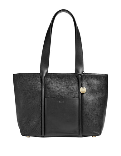 Skagen Lisabet Leather Tote-BLACK-One Size