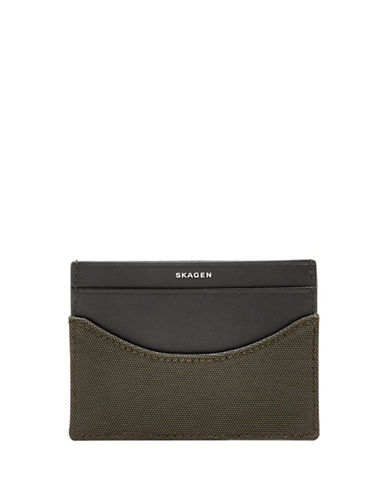 Skagen Colourblocked Card Case-DARK GREEN-One Size