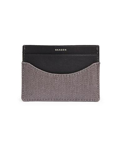 Skagen Leather Card Case-GREY-One Size