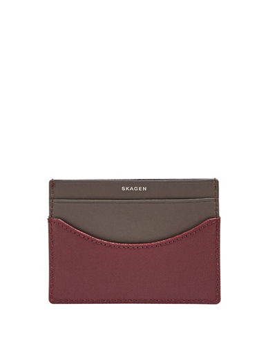 Skagen Colourblocked Card Case-BROWN-One Size