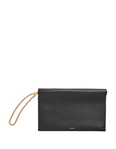Skagen Leather Chain Wristlet-BLACK-One Size