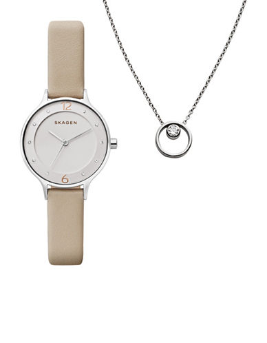 Skagen Holiday Box Anita Oatmeal Leather Watch and Elin Crystal Pendant Two-Piece Gift Set-SILVER-One Size