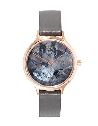 Skagen Anita Black Leather Strap Watch-ROSE GOLD-One Size
