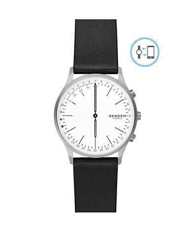 Skagen Jorn Connected Stainless Steel Leather Strap Hybrid Smartwatch-SILVER-One Size