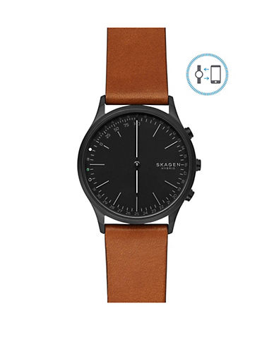Skagen Jorn Connected Stainless Steel Leather Strap Hybrid Smartwatch-BLACK-One Size
