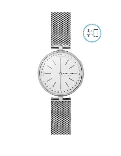 Skagen Signature Connected Stainless Steel Mesh Bracelet Hybrid Smartwatch-SILVER-One Size