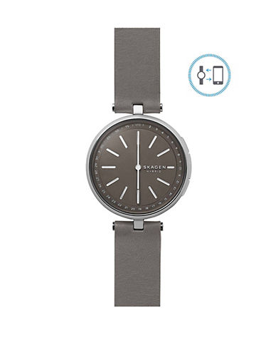 Skagen Signatur Connected Stainless Steel Leather Strap Hybrid Smartwatch-SILVER-One Size