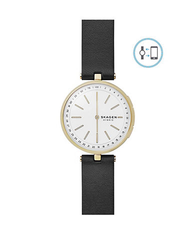 Skagen Signatur Connected Goldtone Stainless Steel Leather Strap Hybrid Smartwatch-GOLD-One Size