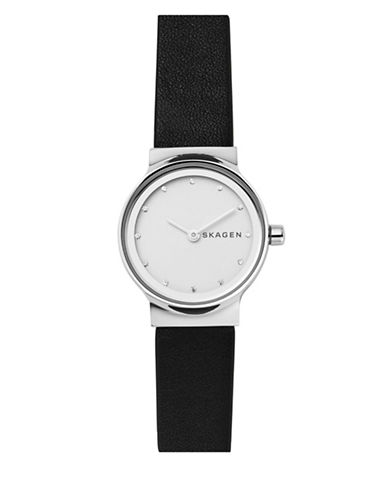 Skagen Freja Stainless Steel Black Leather Strap Watch-SILVER-One Size