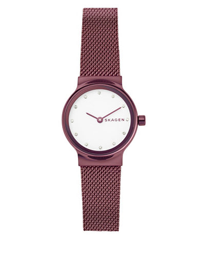 Skagen Freja Red Stainless Steel Mesh Bracelet Watch-RED-One Size
