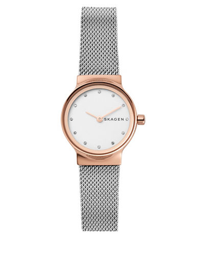 Skagen Freja Two-Tone Stainless Steel Mesh Watch and Katrine Necklace Gift Set-GOLD-One Size