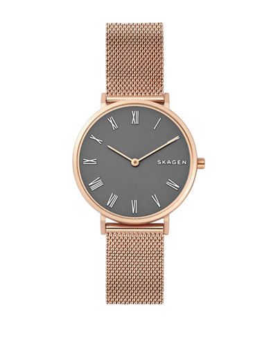 Skagen Hald Stainless Steel Mesh Bracelet Watch-ROSE GOLD-One Size