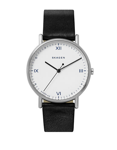 Skagen Playtype Signatur Stainless Steel Black Leather Strap Watch-SILVER-One Size