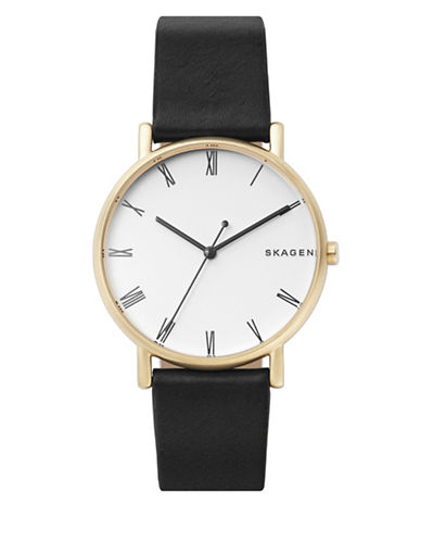 Skagen Analog Signature Stainless Steel Leather Strap Watch-GOLD-One Size