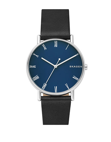 Skagen Signatur Stainless Steel Leather Strap Watch-SILVER-One Size