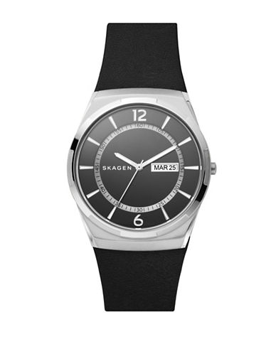 Skagen Melbye Stainless Steel Black Leather Watch-SILVER-One Size
