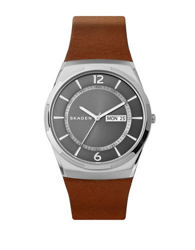 Skagen Melbye Stainless Steel Cognac Leather Watch-SILVER-One Size