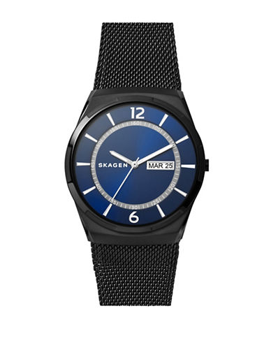 Skagen Melbye Black Stainless Steel Mesh Watch-BLACK-One Size