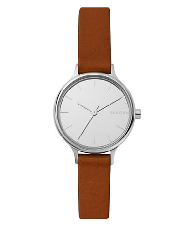 Skagen Anita Stainless Steel Cognac Leather Strap Watch-SILVER-One Size