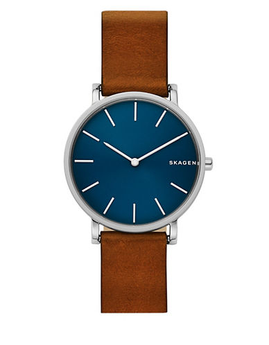 Karolina Hagen Slim Stainless Steel & Brown Leather Strap Watch by Skagen