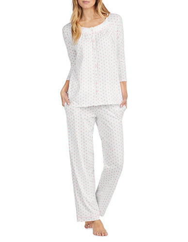 Aria Printed Cotton Pajamas-WHITE-Small