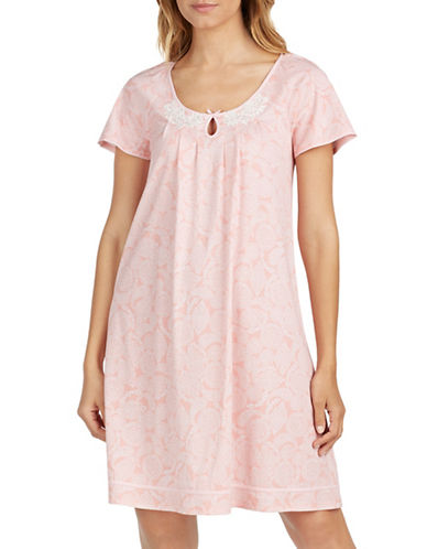 Aria Lace-Trimmed Cotton Night Gown-CORAL-Large