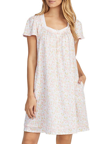 Aria Short Sleeve Cotton Nightgown-NATURAL-Small