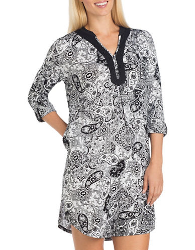 Ellen Tracy Paisley-Print Tunic-BLACK PAISLEY-Large
