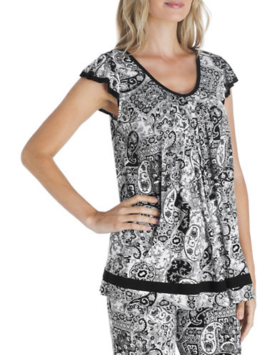 Ellen Tracy Printed Pyjama Top-BLACK PAISLEY-Small