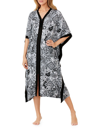Ellen Tracy Paisley Printed Caftan-BLACK PAISLEY-Large/X-Large