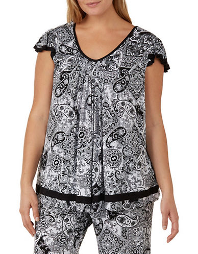 Ellen Tracy Plus Paisley Printed Pyjama Top-BLACK PAISLEY-2X