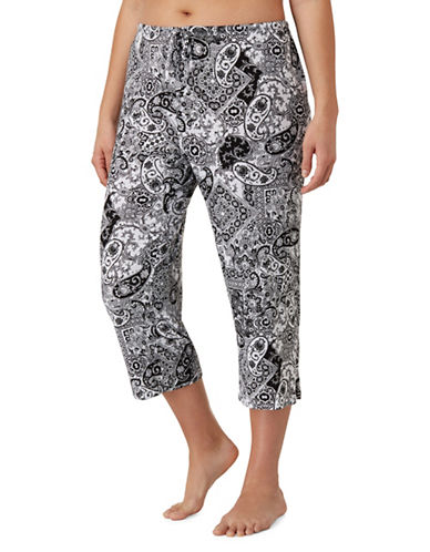 Ellen Tracy Plus Paisley-Print Capri Pants-BLACK PAISLEY-1X
