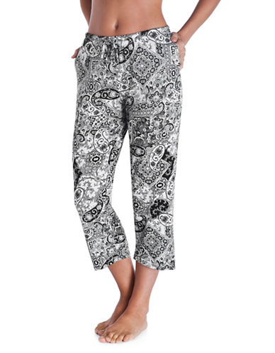 Ellen Tracy Patterned Drawstring Pants-BLACK PAISLEY-Large
