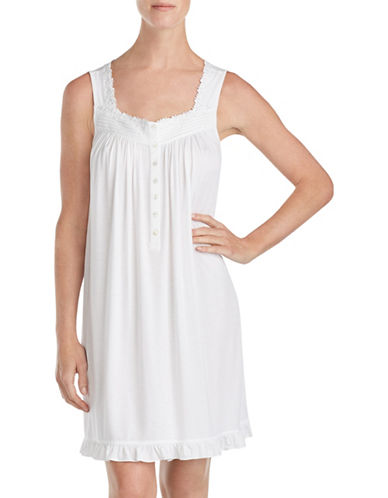 Eileen West Short Ruffled Chemise-SOLID WHITE-Small 89979424_SOLID WHITE_Small