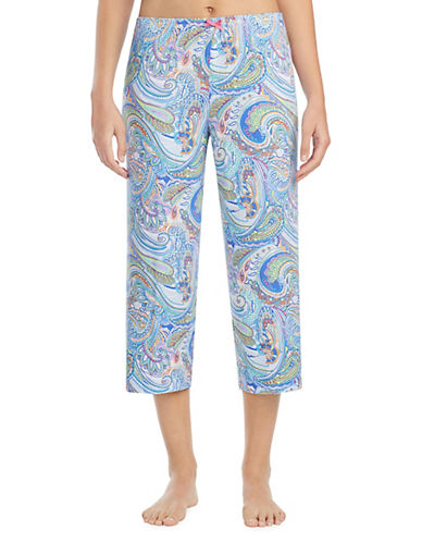 Ellen Tracy Paisley-Print Crop Pajama Pants-BLUE-X-Large 90008372_BLUE_X-Large