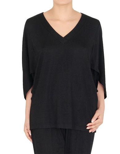 Jones New York Knit V-Neck Top-BLACK-Medium