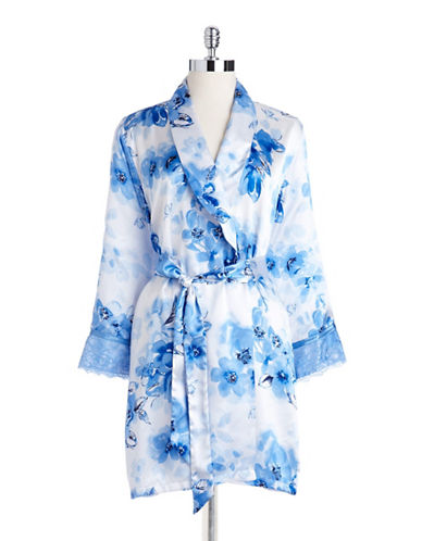 Jones new york Floral Satin Robe blue Small/Medium