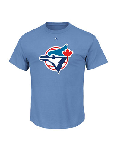 Majestic Toronto Blue Jays Cooperstown Logo T-Shirt-COASTAL BLUE-X-Large