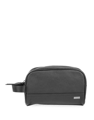 Bugatti Dusk Leather Wash Bag-BLACK-One Size