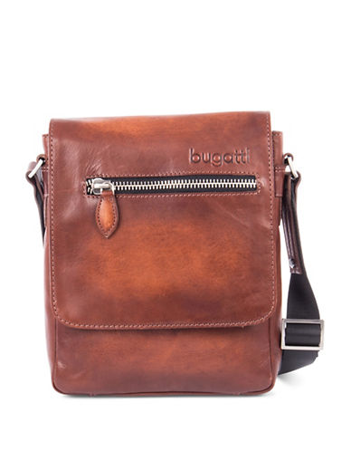 Bugatti Domus Leather Shoulder Bag-COGNAC-One Size