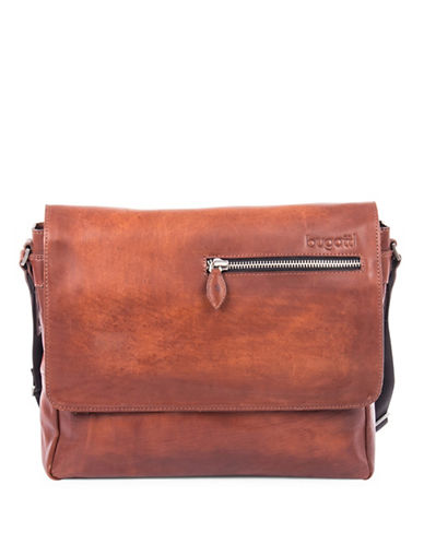 Bugatti Domus Leather Messenger Bag-COGNAC-One Size