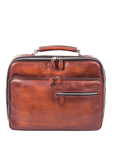 Bugatti Domus Leather Zip Briefcase-COGNAC-One Size