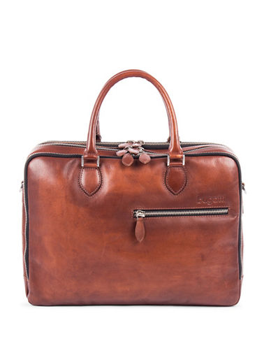 Bugatti Domus Leather Business Briefcase-COGNAC-One Size