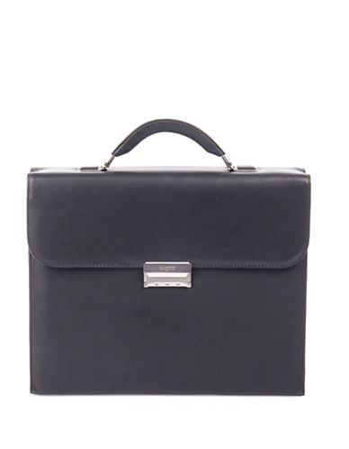 Bugatti Sartoria Small Leather Briefcase-BLACK-One Size